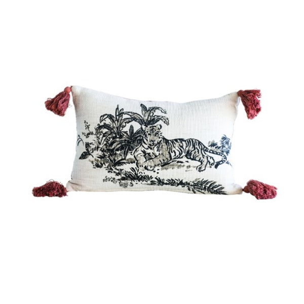 "Cotton & Velvet Printed Pillow with Tiger Image & Tassels | 18"" x 12"""