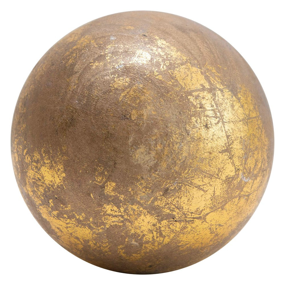 Mango Wood Sphere in Gold Foil Finish | 4-inch