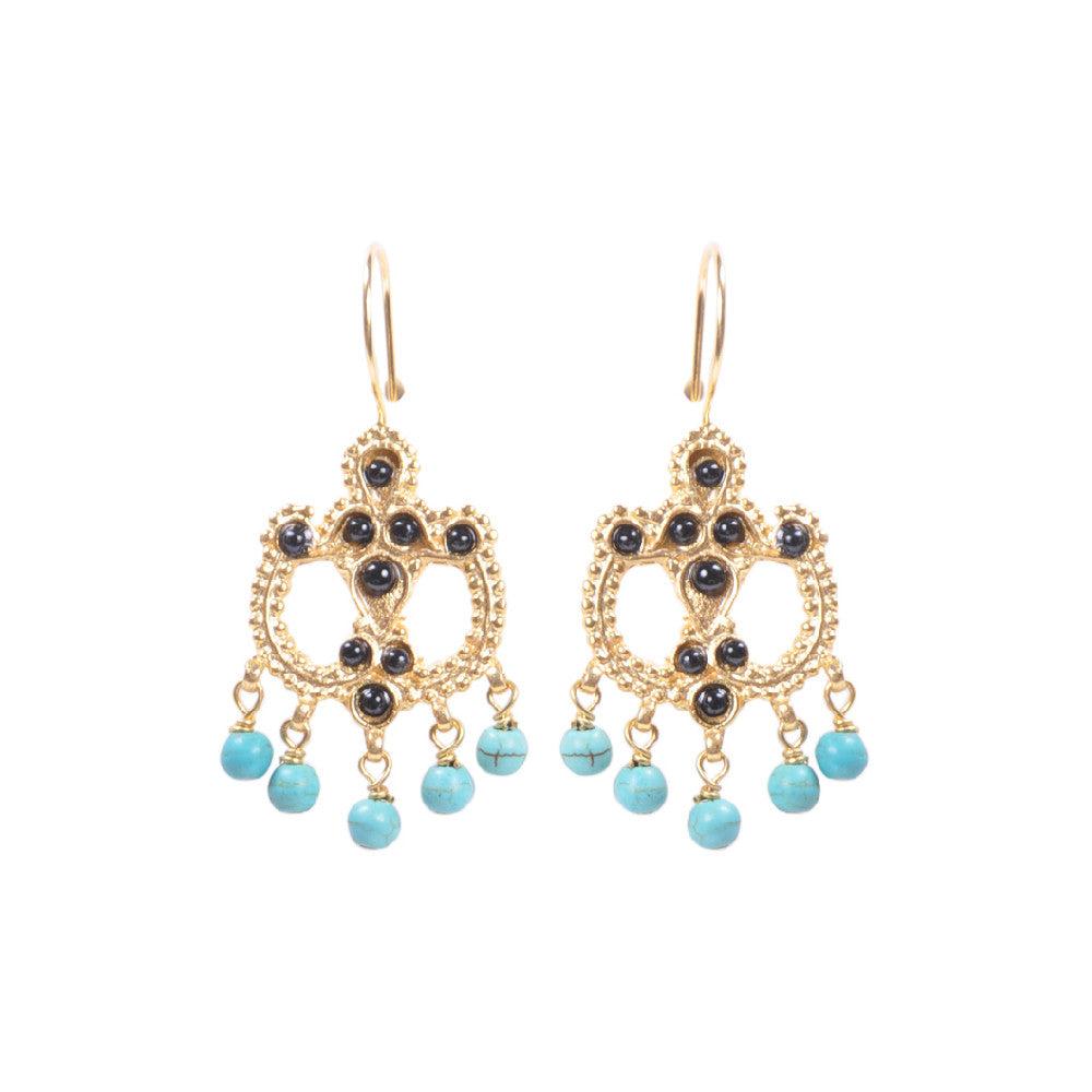Turkish Delights Earrings: Black Stone and Turquoise Chandelier Earrings