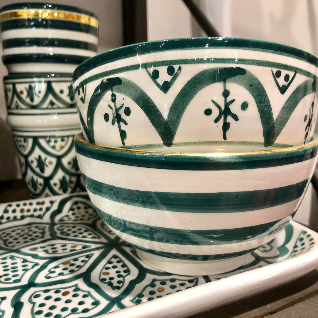 Handmade Moroccan Ceramic Condiment Bowls - Set of Two (More Colors Available)