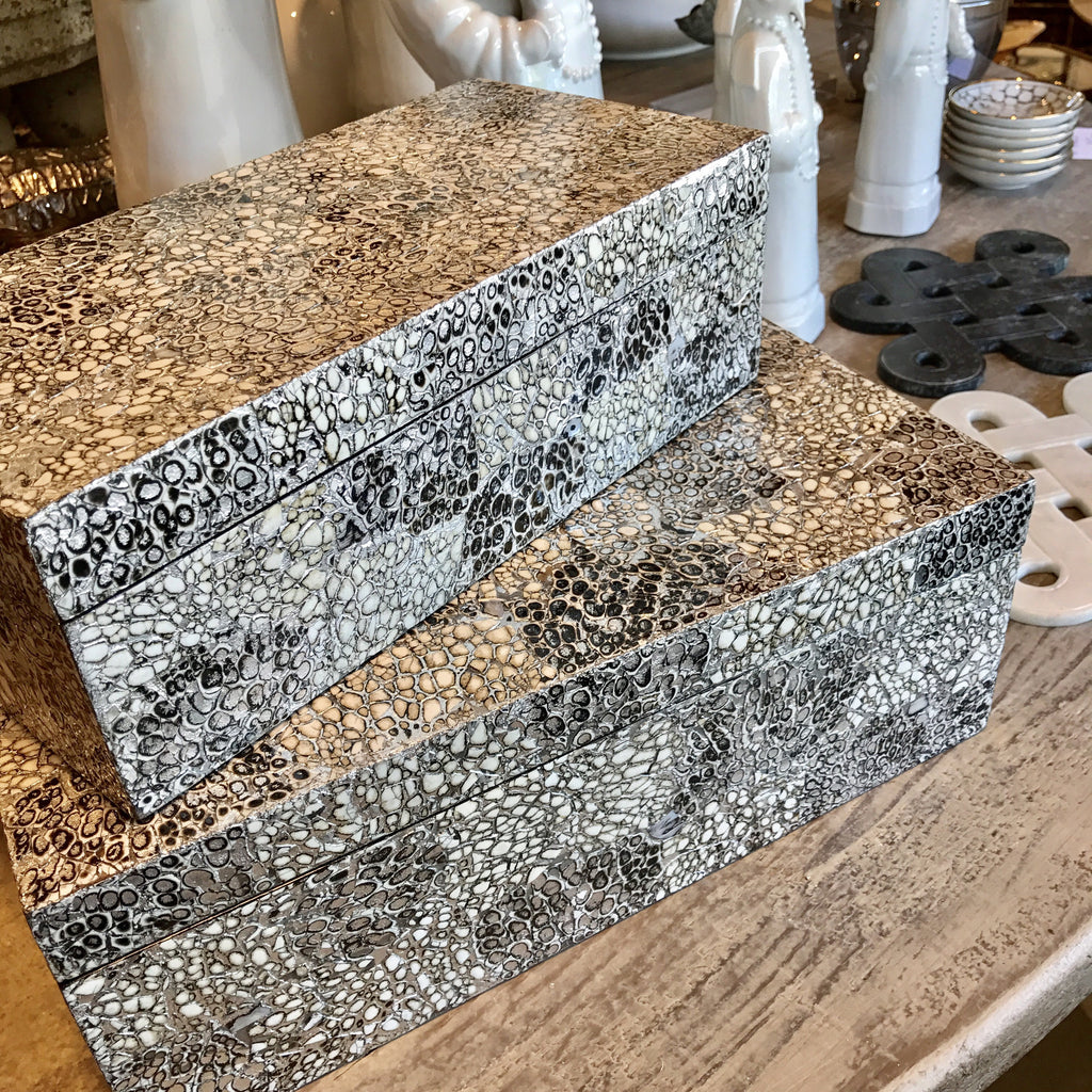 Crackle & Shimmer Mother of Pearl Boxes (Two Sizes)