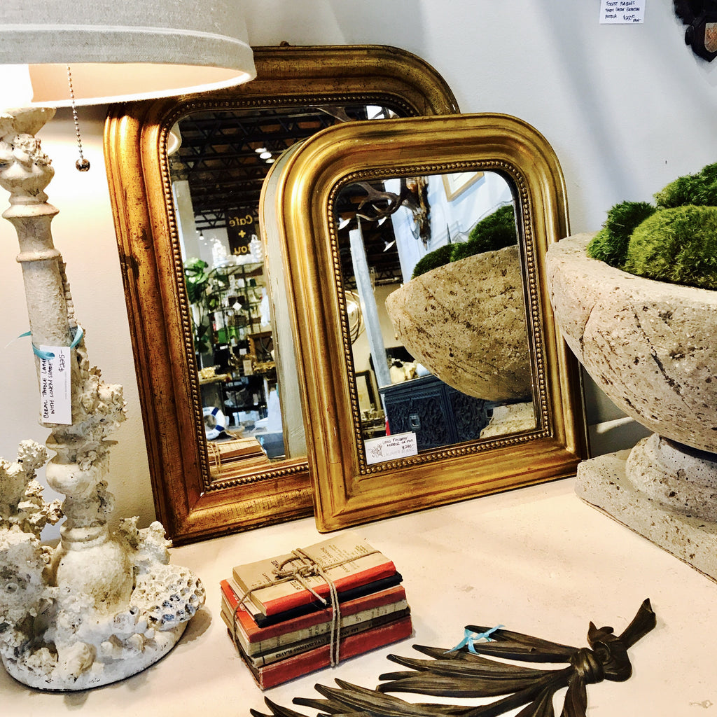Antique Small Louis Philippe Gilt Tabletop Mirror with Bead Trim