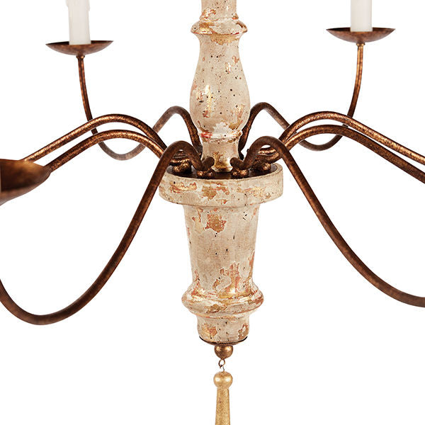 M'recia Italian Carved Eight-Arm Chandelier with Cream Finish