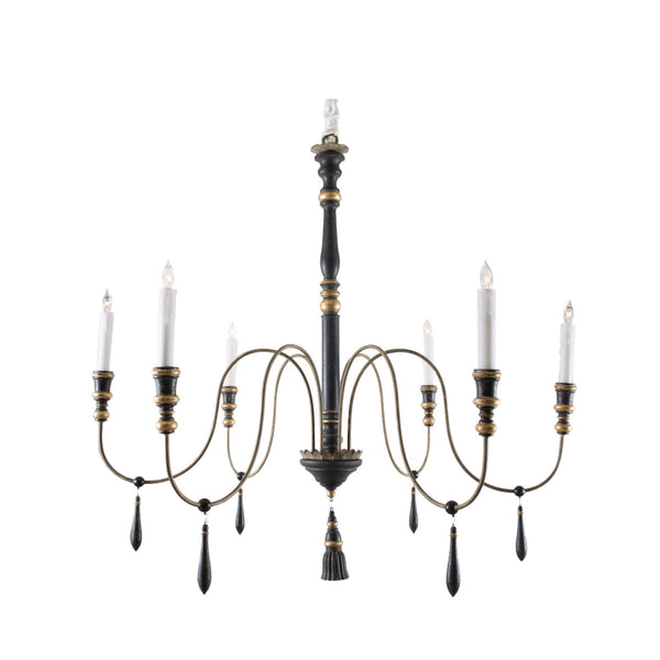 Large Empire Black & Gold Six-Arm Chandelier