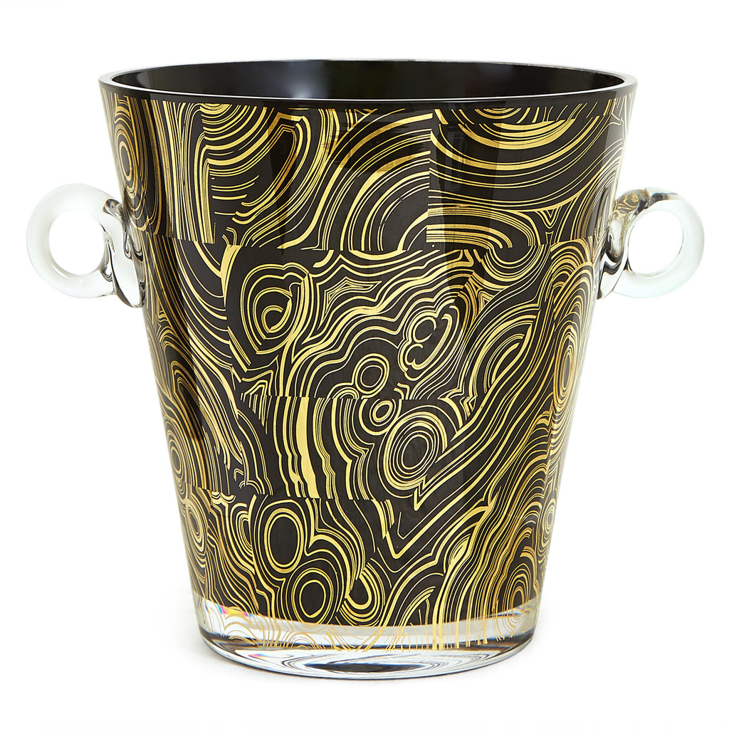 Malachite Black & Gold Ice Bucket
