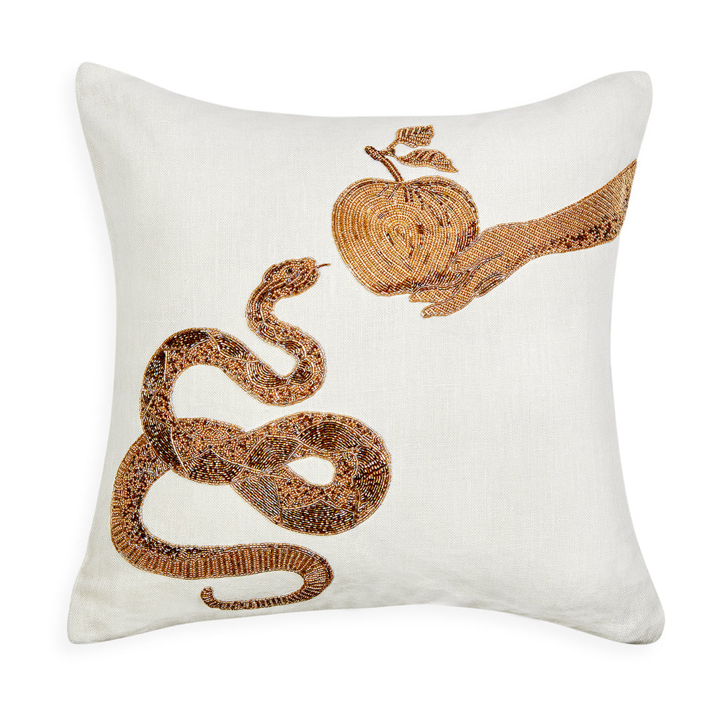 Muse Snake & Apple Beaded Linen Throw Pillow