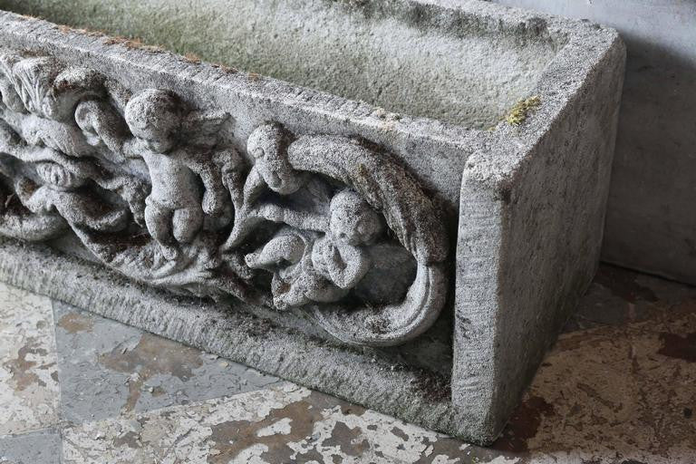 Antique French Cast Concrete Planter with Angels (Two Available)