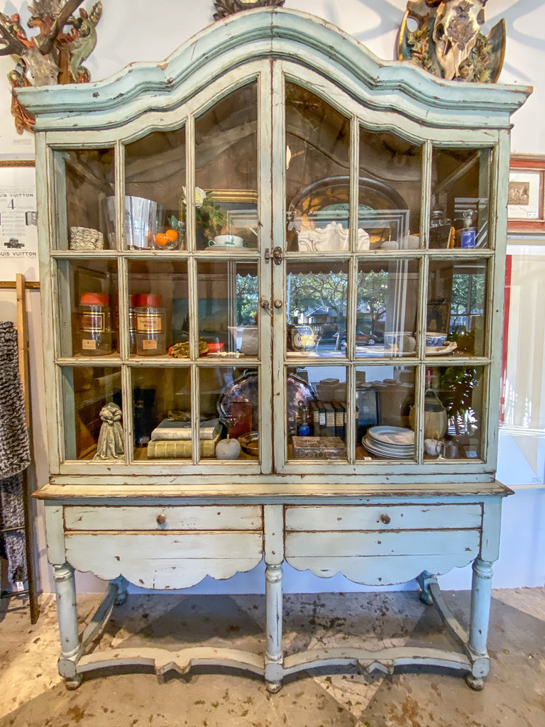 Antique European Painted Deux Corps Cabinet with Glass Pane Doors
