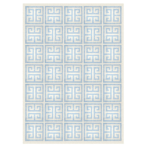 Light Blue Greek Key Reversible Peruvian Flat Weave Rug by Jonathan Adler