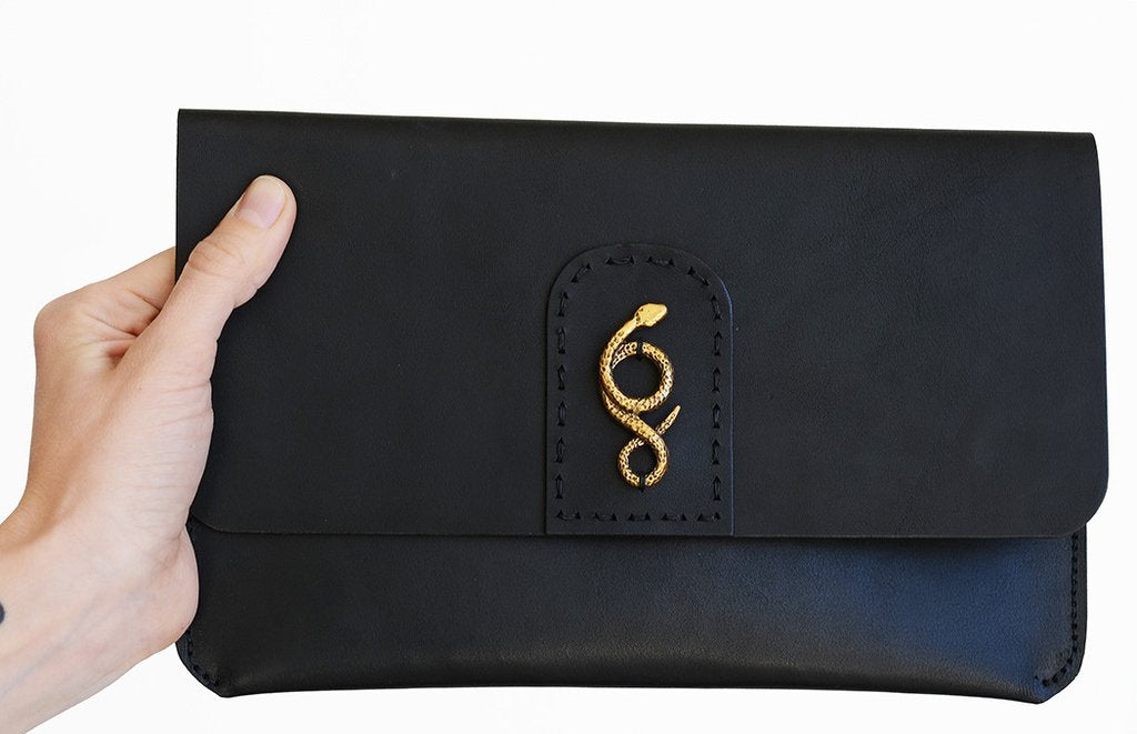 Bronze & Leather Serpentine Clutch by Clay Witt