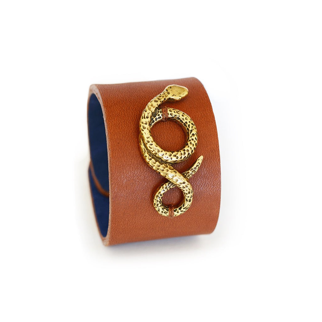 Bronze & Leather Serpentine Cuff by Clay Witt