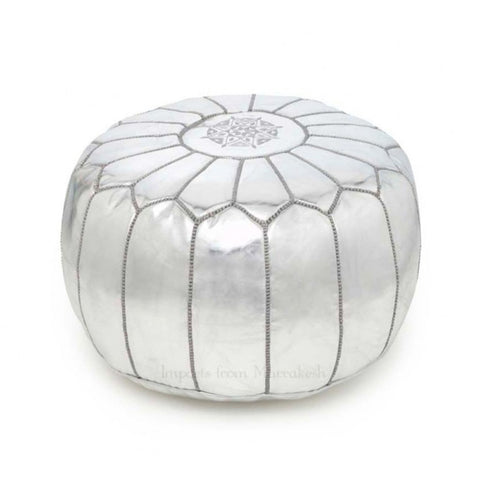 Moroccan Metallic Leather Poufs