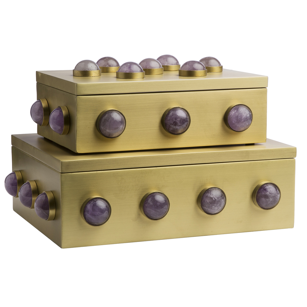 Pandora Amethyst Satin Brass Boxes, Small & Large Sizes