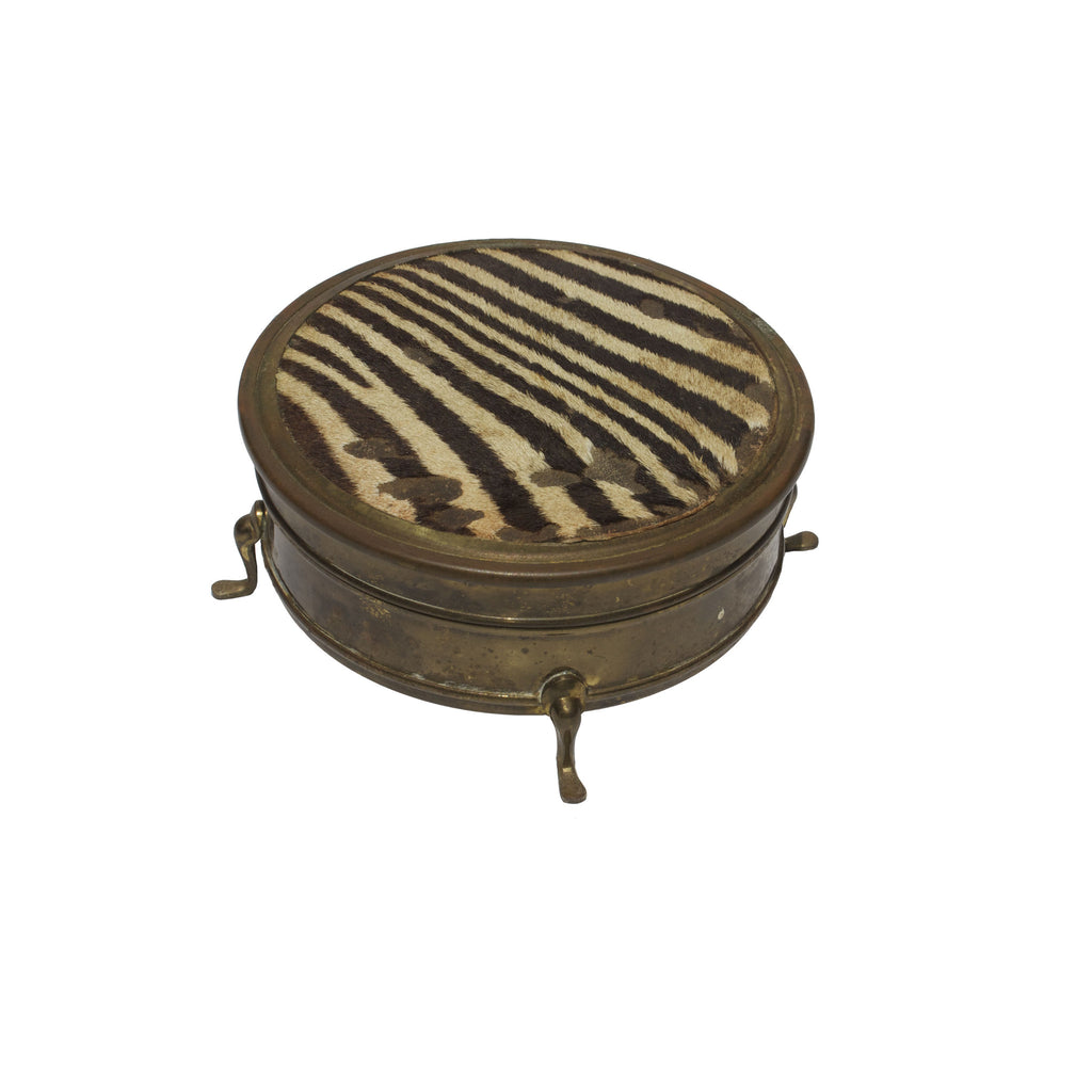 1930's Brass & Zebra Jewelry Box