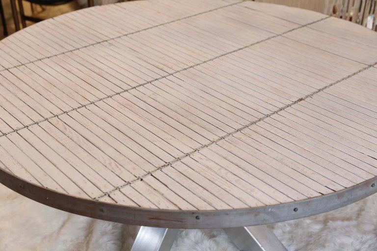 Steel and Wood Slat Industrial Round Dining Table
