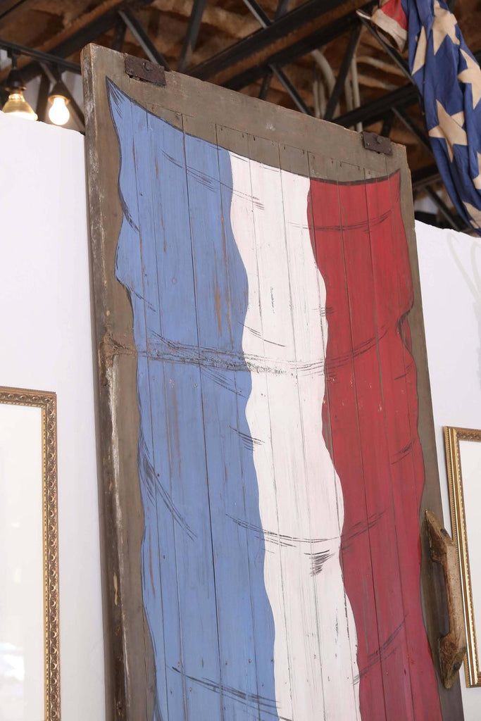 Antique French Barn Door with Flag Painting