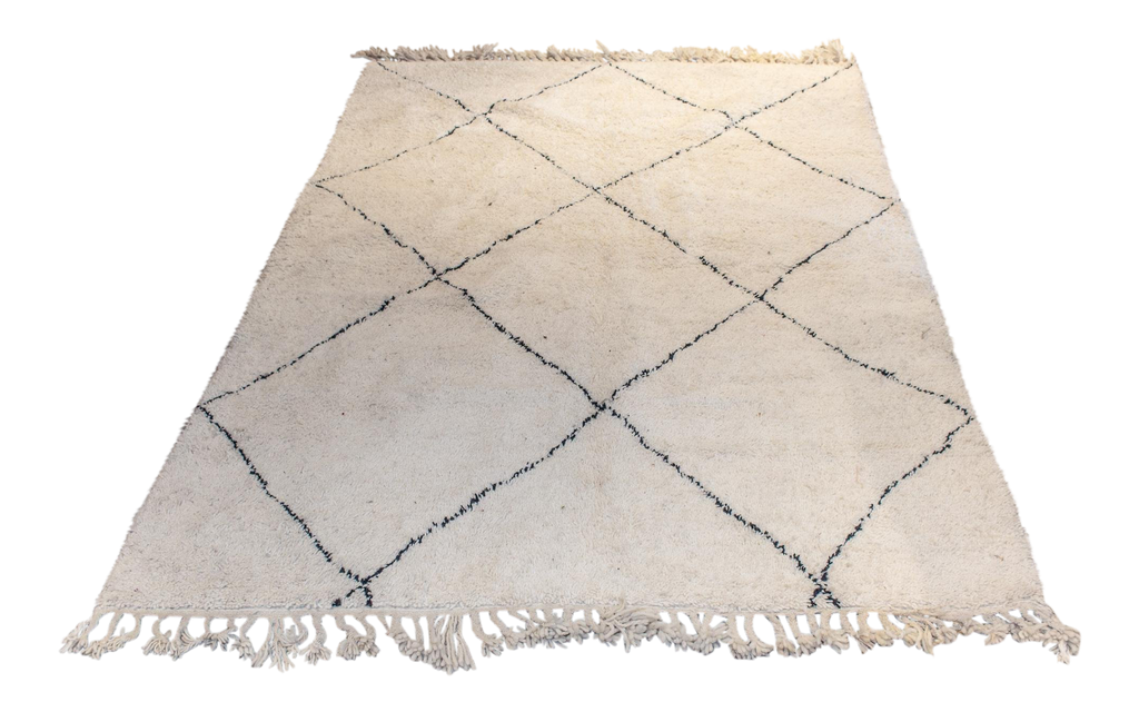 Moroccan Beni Ourain Double-Sided Berber Rug in Ivory and Black