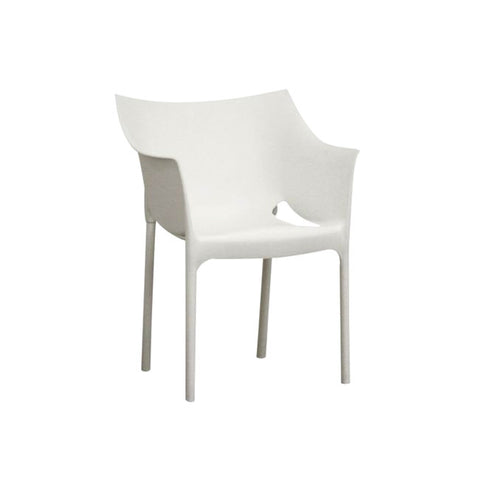 White Molded Indoor/Outdoor Plastic Armchair Set/2