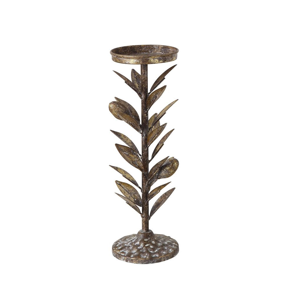 Metal Olive Branch Pillar Candle Holders | Two Sizes Available