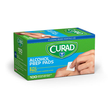 Prep Pads: CURAD 2-Ply Alcohol Prep Pad for Wound Care, Thick, Size M
