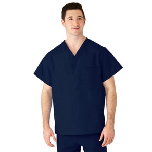 AngelStat Unisex Reversible V-Neck 2-Pocket Scrub Top with Medline Color-Coding, Navy