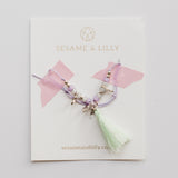 Mint tassel beaded bracelet