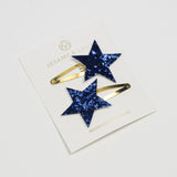 Navy star hairclips