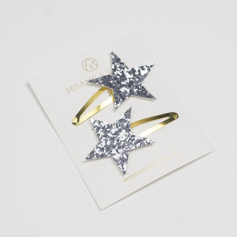 Silver star hairclips