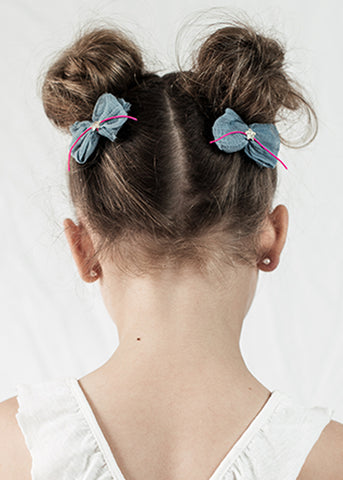 Silk bow clips