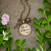 Go into all the world glass pendant necklace  (Mark 16:15)   (charms and beads included)