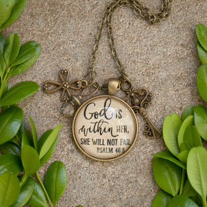 God is within her, she will not fail pendant necklace with charms (Psalm 46:5) (charms and beads included)