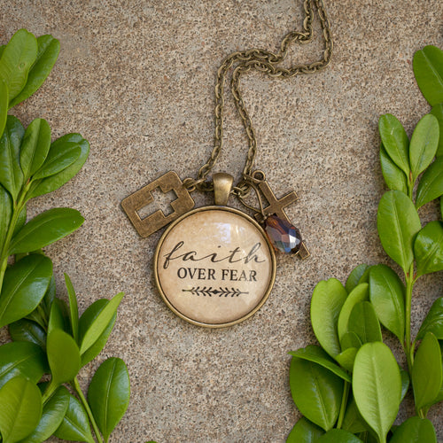 Faith over Fear pendant necklace (charms and beads included)