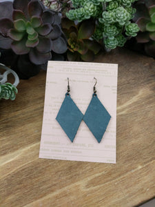 Steel Blue Diamond Leather Earrings
