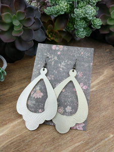 Champagne Chandelier Cutout Leather Earrings - NEW