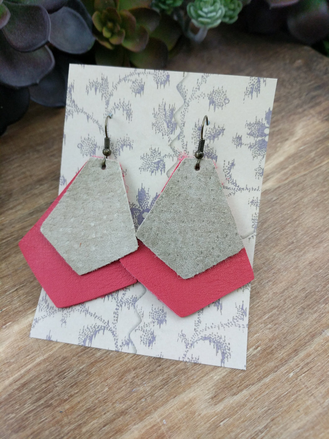 Tan/Cherry Layer Leather Earrings