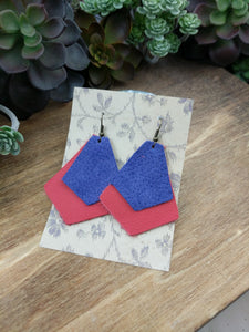 Blue/Cherry Layer Leather Earrings