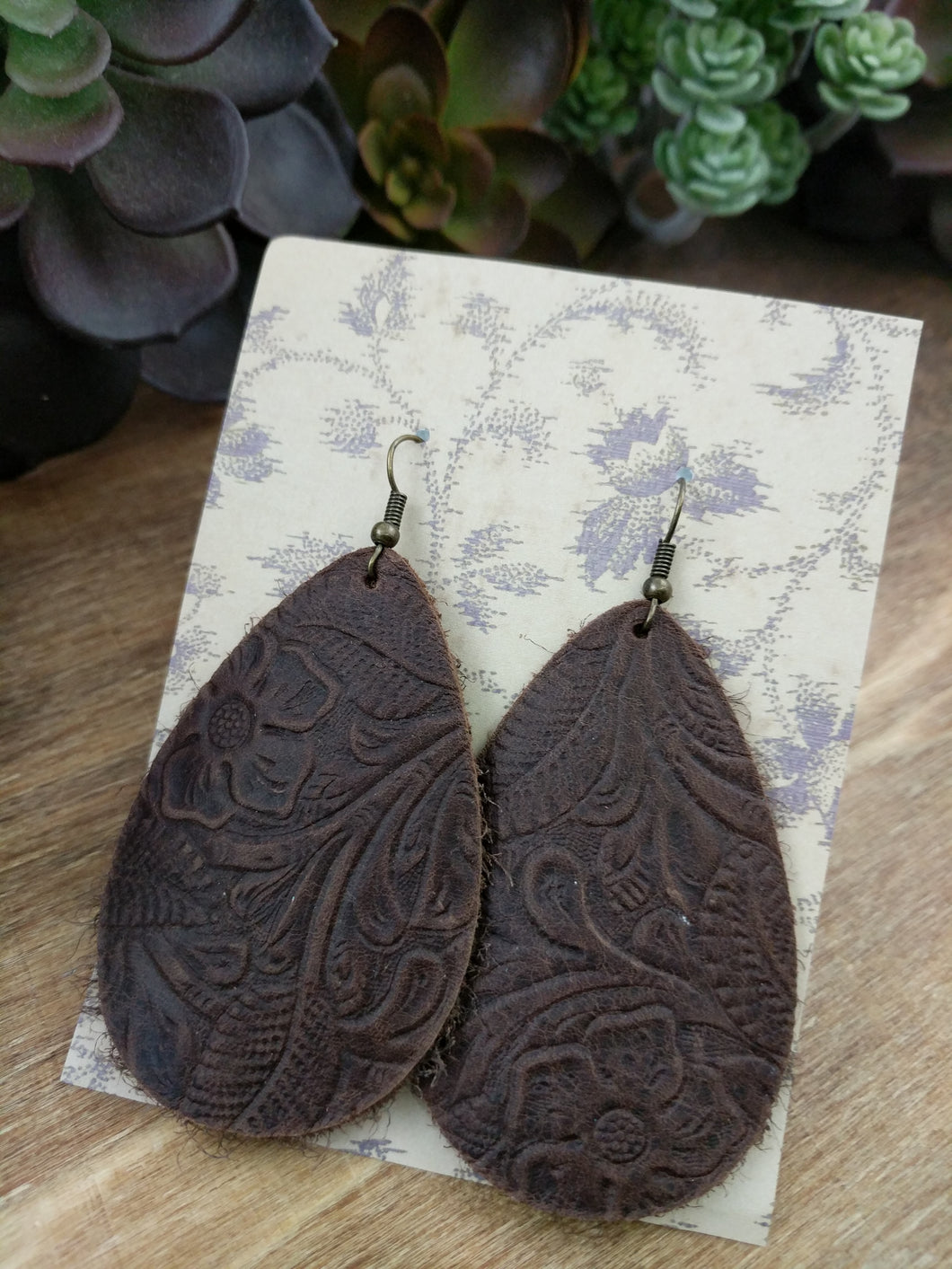 Tooled Brown Teardrop Leather Earrings