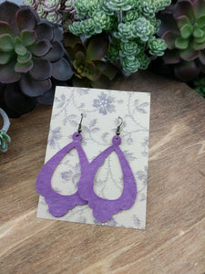 Purple Chandelier Cutout Leather Earrings - NEW
