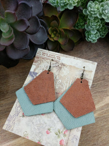 Dusty Sage/Caramel Layer Leather Earrings