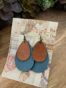 Caramel/Steel Blue solid Teardrop Leather Earrings