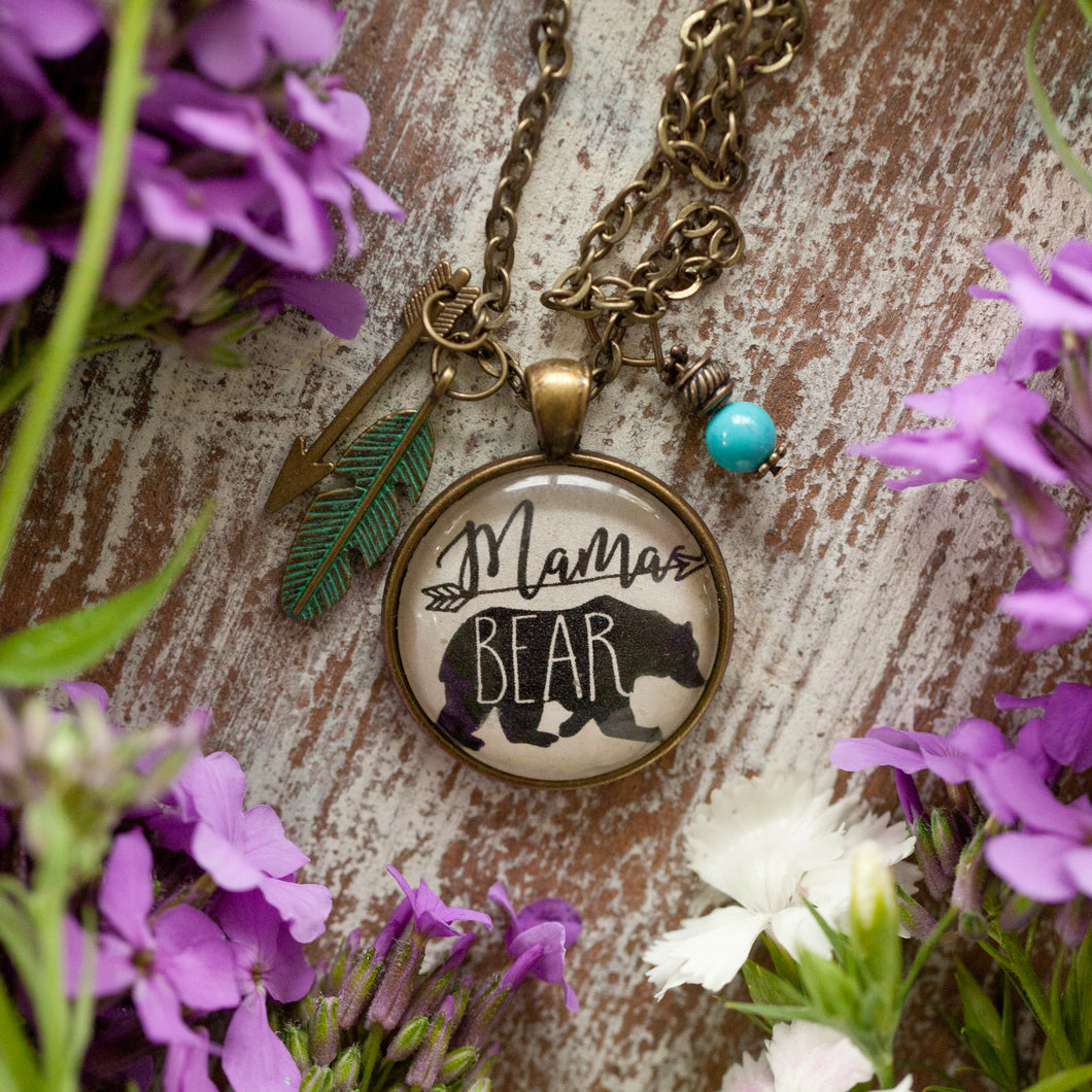 Mama Bear necklace (charms and beads included)