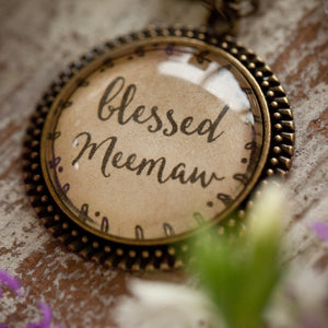 Blessed Meemaw glass pendant necklace (charms and beads included)
