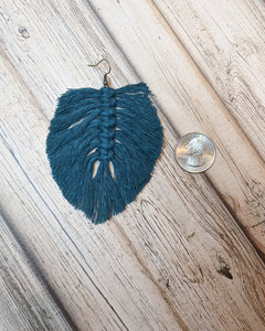 Copy of Peacock Blue LEAF Macrame Earrings