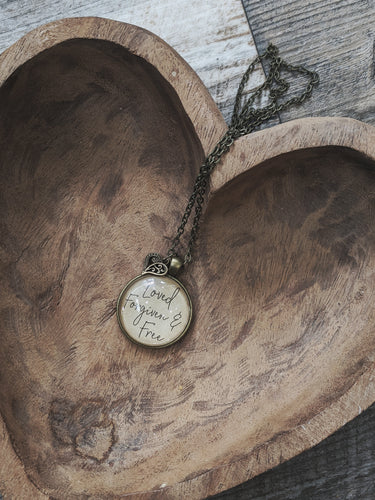 Loved Forgiven and Free Necklace with Heart Charm