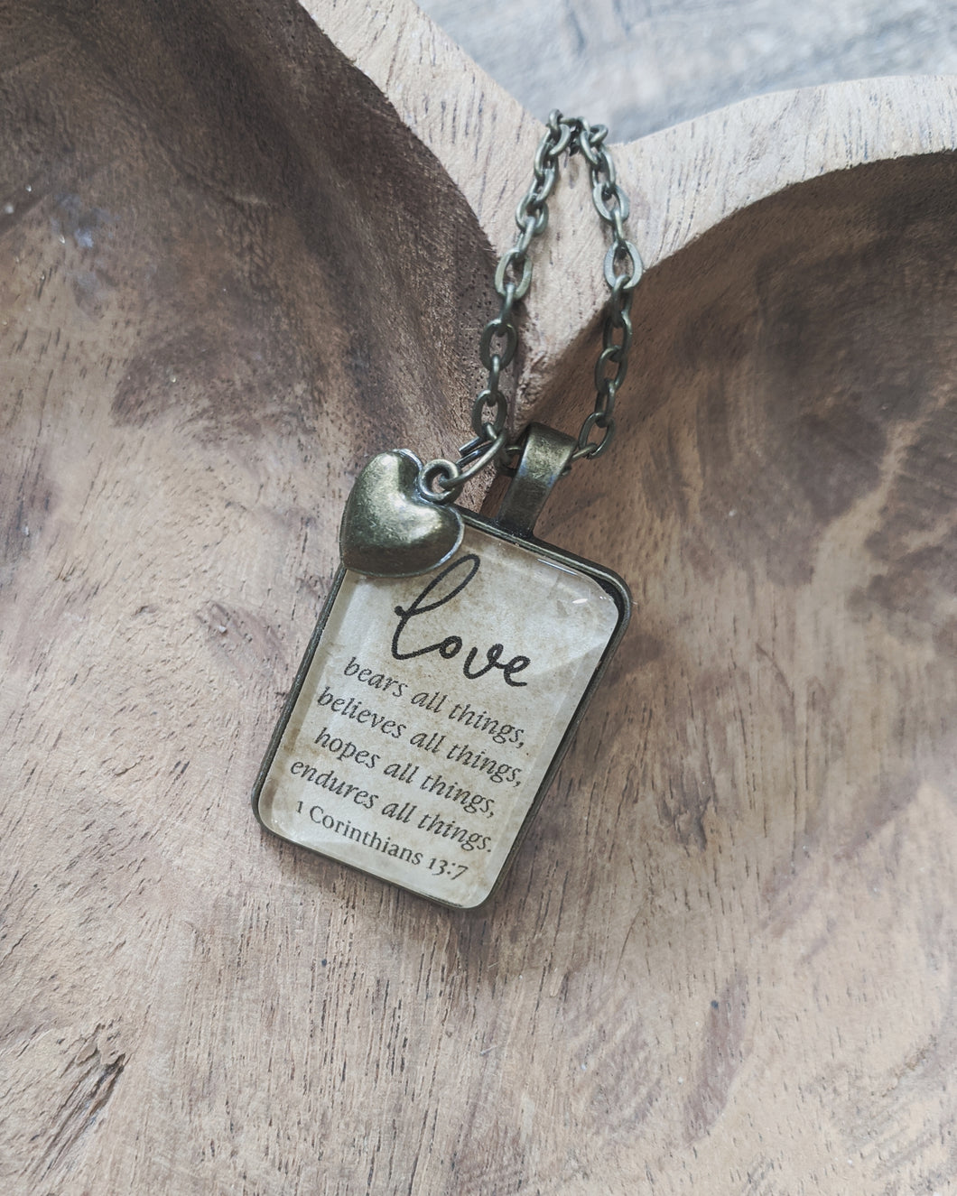 Love Bears all Things Necklace with Heart Charm