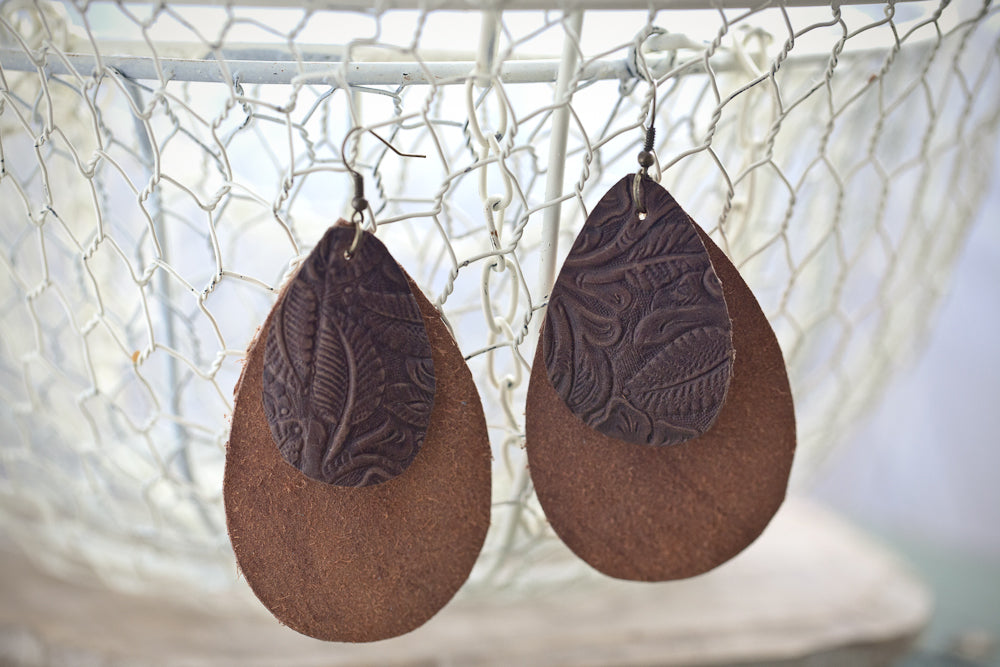 Caramel Mocha Leather Earrings