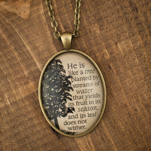 """he is like a tree planted by streams of water"" necklace"