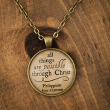 """all things are possible through Christ"" necklace"