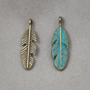 Patina Feather Charm