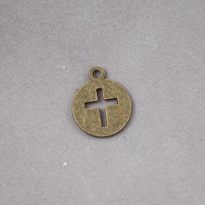 Round Cutout Cross Charm